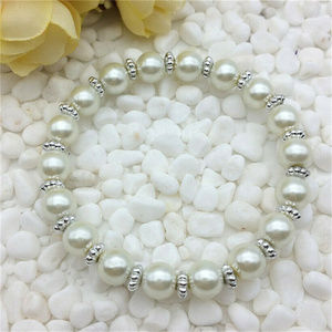 Jewelry - Silver White Pearl Glass Bead Stretch bracelet 8mm
